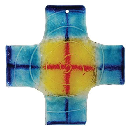 GLASKRUIS met spiraal - Blauw/geel/rood - 18x18 cm