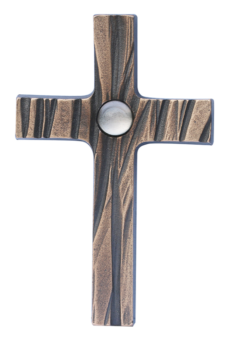 KRUIS - brons met wit bergkristal - om te hangen - 8,5x13,5 cm -