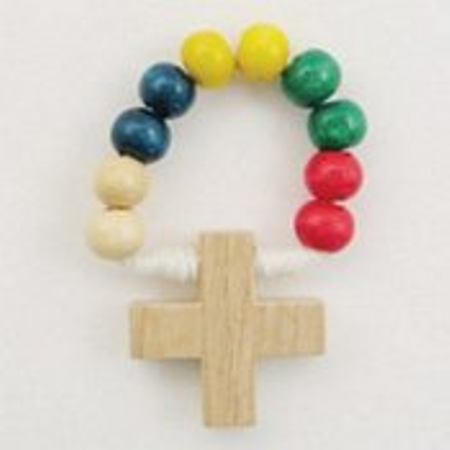 ROZENKRANS - vinger - hout - gekleurde bolletjes - geknoopt - doorsnede 3 cm