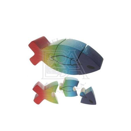 VIS - PUZZEL - HOUT - veelkleurig - 3 stukken - 11x4 cm
