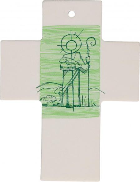 KRUIS - porcelein - Goede Herder - 7x9 cm