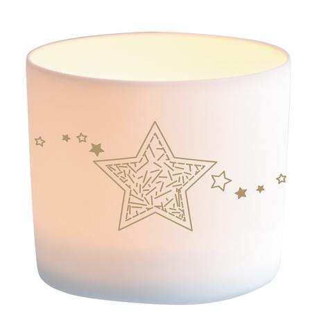 LICHT - voor kaarsje - ster - porcelein - 7x6 cm - in een doosje