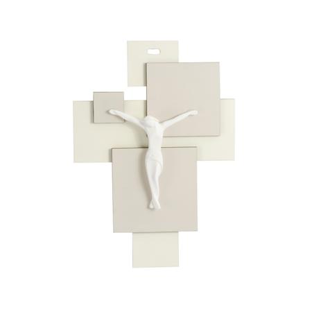KRUIS - met corpus - wit/beige - strak design - 16x11,4 cm