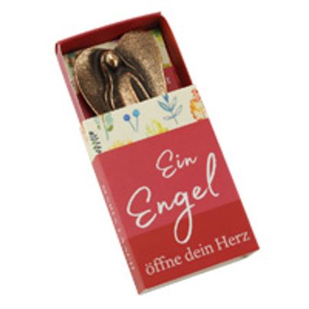 ENGEL - brons - 4,7x2,7 cm - zien doe je met je hart - staand beeldje