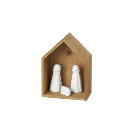 KERSTSTAL - hout - witte figuren - porcelein
