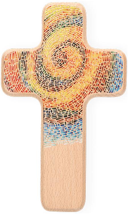 KRUIS - hout met regenboogmotief /spiraal- 18x11x2 cm - natuur - in een doosje