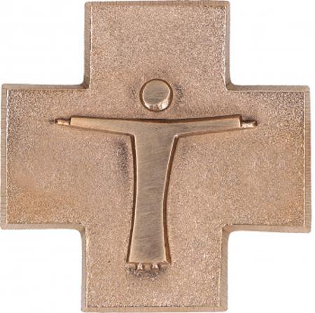 KRUIS - brons - met corpus - 6,5x6,5 cm - in geschenkdoos