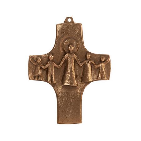KRUIS  - brons - gemeenschap - 9x7 cm