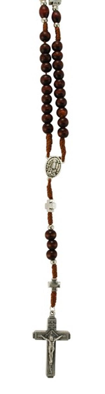 ROZENKRANS - donkerbruin met kruisjs - hout - 40,5 cm lang