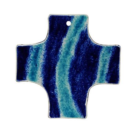 KRUIS - glas - blauw - 15x15 cm - om te hangen