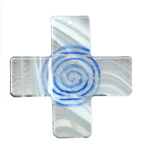 KRUIS - GLAS - wandkruis- 9x9 cm - blauw spiraal