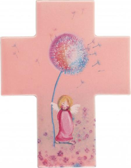 KRUIS - porcelein - roos - engel - 11x14 cm - in geschenkdoos