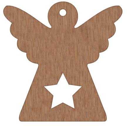 ENGEL - hout - met ster - om te hangen - 7x7,1 cm