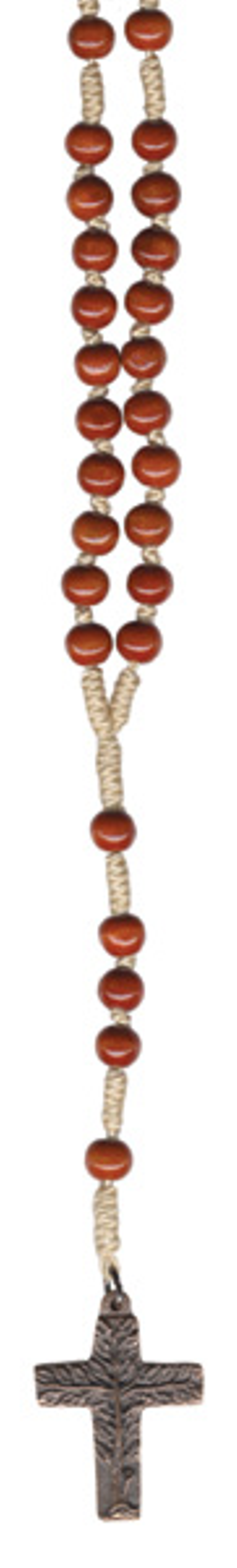 ROZENKRANS - bruin - grote parel - brons kruis - levensboom - 46 cm