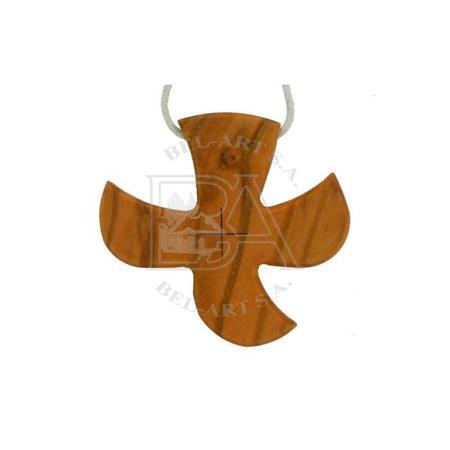 KRUISJE OP KOORD - OLIJVENHOUT - 4,8x4,6 cm - Taizé