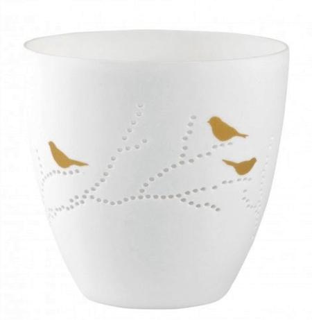 POETRY LIGHT - VOGEL - wit porcelein - met gouden vogel