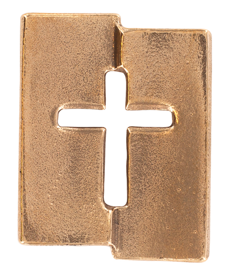 KRUIS - brons - 4,5x5,5 cm - om te hangen - in geschenkdoosje