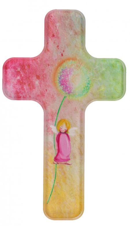 KRUIS - acrylglas - engel met bloem - om te hangen - 11x18 cm