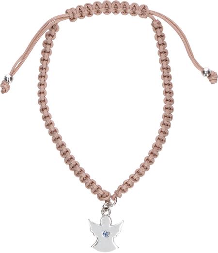 ARMBAND - engel - 5-8 cm gevlochten koord - engeltje met steentje