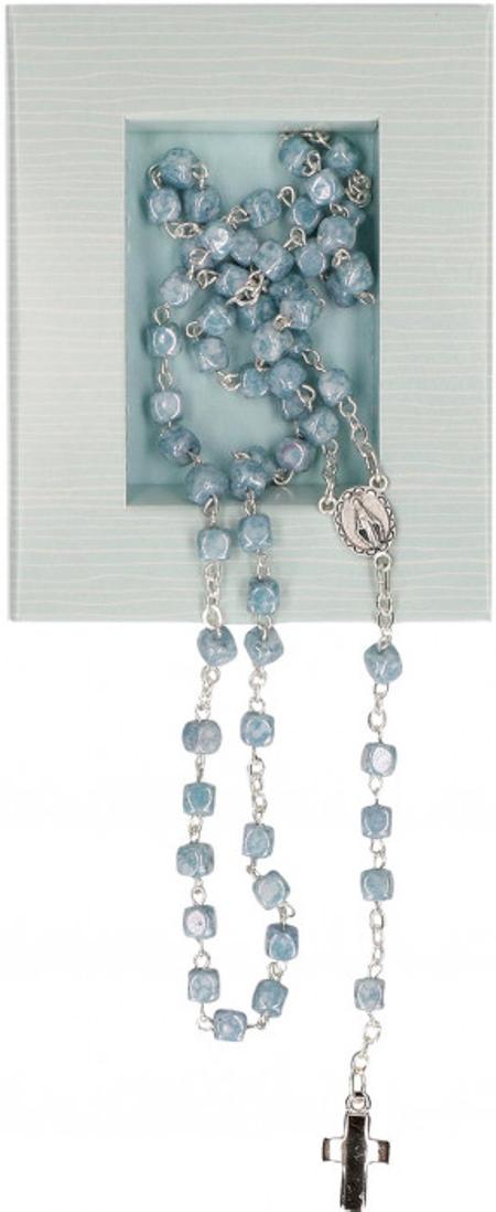 PATERNOSTER - hemelsblauw - glasparel - 41 cm - metalen kruisje