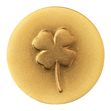 KLAVERTJE 4 - goud - dia 2,5 cm 4,5x6 cm