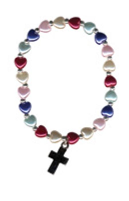 ARMBAND - hartjes/kruisje - blauw/rood/wit - elastiek - doorsnede 6 cm