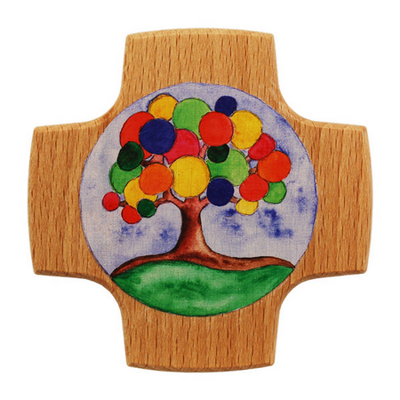 KRUIS - hout - blank - levensboom - veel kleuren - 8x8 cm