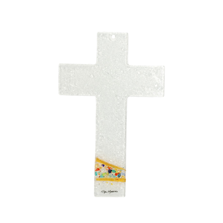 KRUIS - wit met kleine steentjes in kleur - 16x10,2 cm