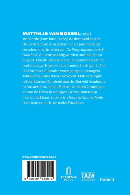 DOMHEID ALS METHODE - M. Van Boxsel - Karakters