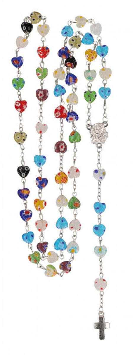 PATERNOSTER - veelkleurig - harten parels - met kruisje