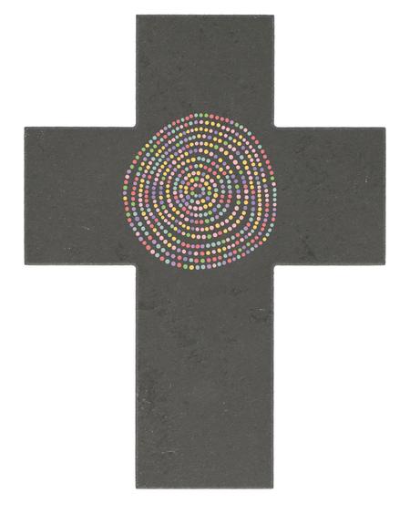 KRUISBEELD - leisteen - met gekleurde spiraal - 17x13 cm