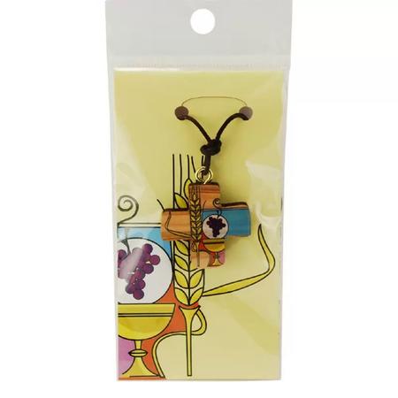 KRUISJE - om te hangen - hout - kornaar/druiven - 3x2,8 cm + kaartje