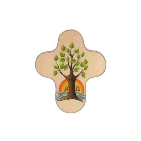 KRUISJE - HOUT - Levensboom- 11x09 cm
