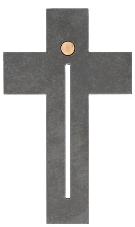 KRUIS - leisteen - 13x22 cm - om te hangen - met brons - motief doorbroken