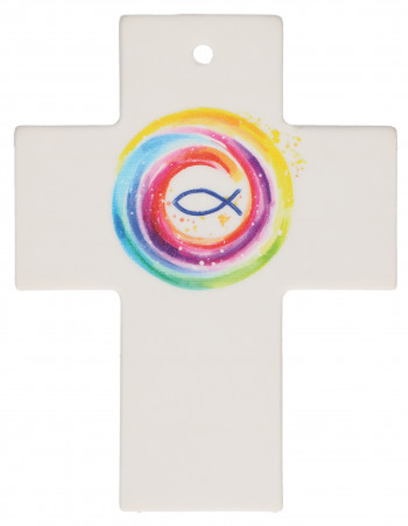KRUIS - porcelein - vis - kleuren - 9x7 cm