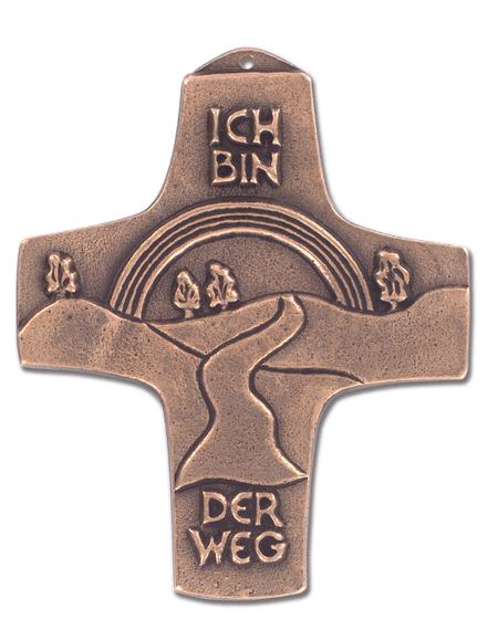KRUIS - volg mijn weg - nederlandse tekst - brons - 11 cm
