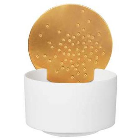 SPOTLIGHT - wit porcelein met gouden cirkel - voor t-lichtje - zen gevoel