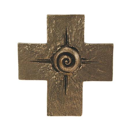 KRUIS - brons - spiraal - 12,3x11,2 cm - om te hangen