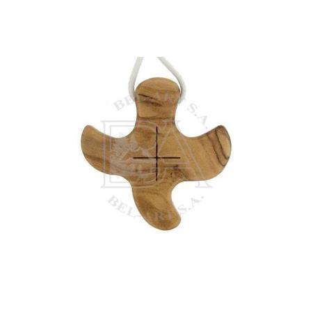 KRUISJE OP KOORD - Olijvenhout - 3,3x3,3 cm - Taizé
