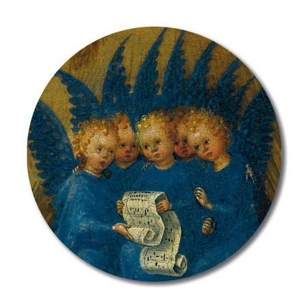 MAGNEET - zingende engelen - rond - doorsnede 5,8 cm