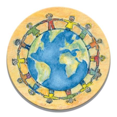 MAGNEET - kinderen van de hele wereld - doorsnede 5,8 cm