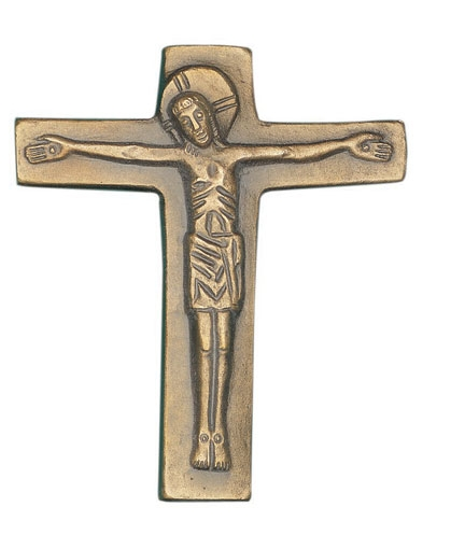 KRUIS - brons - 13x11 cm - met christusfiguur