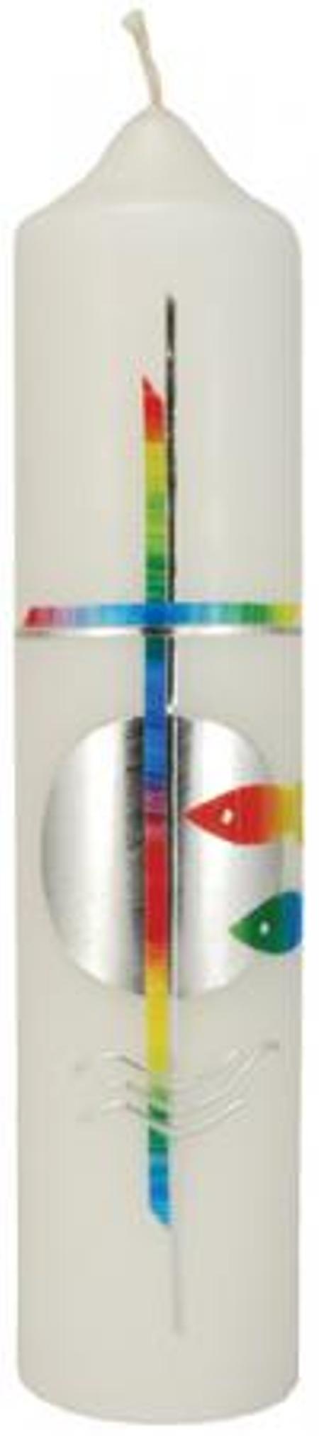DOOPKAARS - kruis/regenboogkleuren/zilver - 265/60 mm