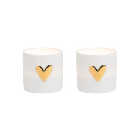 LOVE LIGHTS - 2 stuks - wit porcelein met gouden hartje