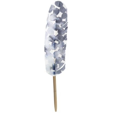 PLUIM / veer PEN - blauw - L 28 cm
