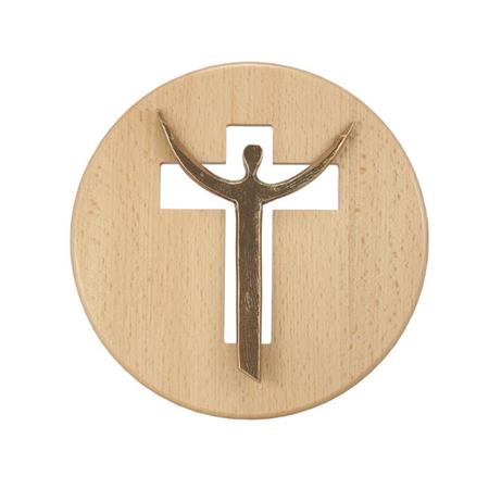 CHRISTUSFIGUUR IN BRONS - kruisvorm / blank hout - rond - doorsnede 18,5 cm