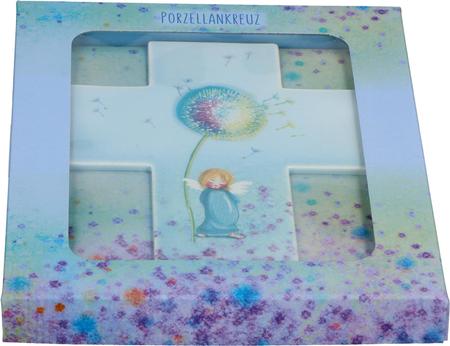 KRUIS - porcelein - blauw - engel- 11x14 cm - in geschenkdoos