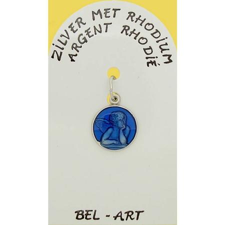 MEDAILLE - zilver - engel - email - 12 mm