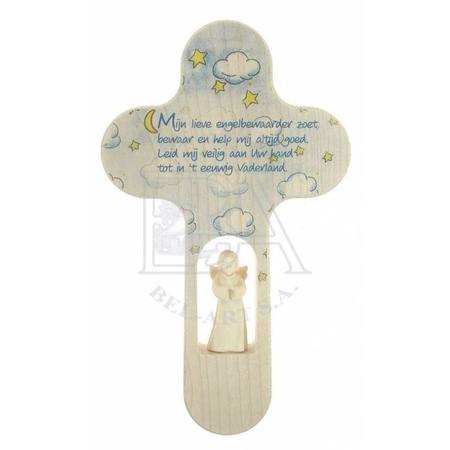 KRUISBEELD MET ENGEL - mijn lieve engelbewaarder - 21 cm - houtsnijwerk