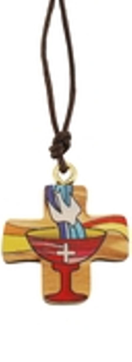 KRUISJE - kelk/duif - om te hangen - hout - 3x2,8 cm + kaartje